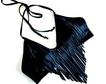 Black Fringe Halter Bikini Top