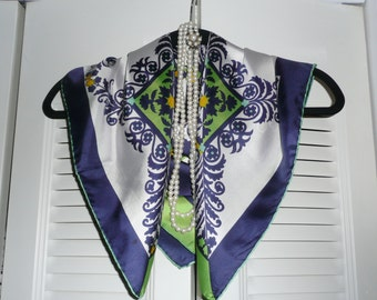Large Blue and Green Le Roi Square Silk Scarf