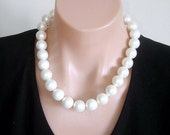 """READY FOR SPRING Sale: Statement Necklace Ashira Bride, Formal Mother of Pearl Statement Necklace 16mm bead 18"""" - Wedding / Formal Collectio"""