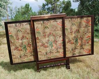 Antique Fireplace Screen, Wood 3 Panel, Sliding Divider Fire Screen, Handpainted