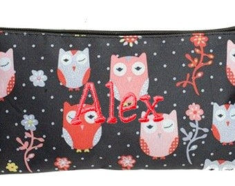 Personalized Cosmetic Case or Pencil Pouch Black with Owls Design