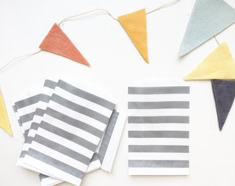 Gray Striped Kraft Paper Bags 5x7.5 set of 25