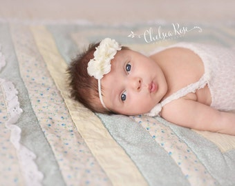 Ivory hair band, infant headband, ivory newborn headband, flower headband, baptism headband, christening headband, ivory baby headband