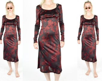 90's Floral BLACK  and RED Floral Dress. Patterned Dress. 90's Grunge Long Dress. 1990's Grunge Mod Witchy 70's 80's Midi Dress