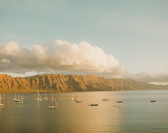 Lanzarote Photograph - Nature Photography - Landscape Photograph - Boats - Summer - Ocean - Water - Sky - Fine Art Decor - Mountains