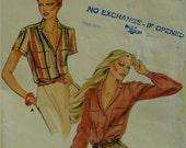 Vintage 1970s Shirt Blouse, Notched Collar, Back Yoke, Long/Short Sleeves, Button Front, Cuffs, Pockets, Butterick No. 6822 UNCUT Size 14