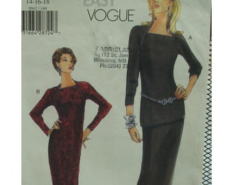 Knit Dress pattern, Tunic, Fitted, Straight, Long/Elbow Sleeves, Fitted Skirt, Vogue No. 9942 UNCUT Size 14 16 18
