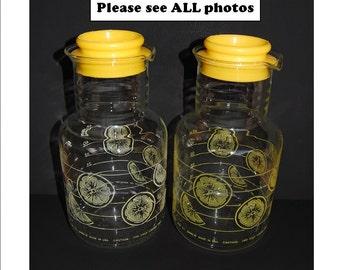 Vintage Pyrex 2 Quart Carafe 7520 Lemon Slices Carafe Tea Pitcher Pyrex Lemonade Pitcher