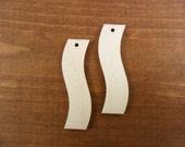 "25 Wavy Rectangle Wood Earring Pendants 2"" x 1/2"" x 1/8"" Unfinished Laser Cut Jewelry Making 1 Hole"