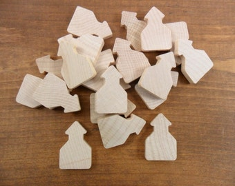 "Wood School House Shapes 1 3/16"" x 3/4""x 3/16"" Thick Unfinished Wood Miniature - 20 Pieces"