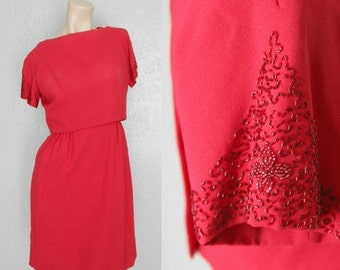 "SALE 1960's Red Beaded Sleeves Vintage Wiggle Dress Mad Men Sz S 26"" Waist by Maeberry Vintage"