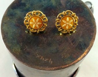 Gold and orange flower earrings