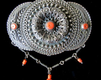 Signed Antique Ottoman 19C. Filigree Silver & Coral Belt Buckle