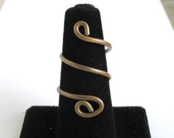Vintage Brass Wire Wrap Around Ring - Adjustable