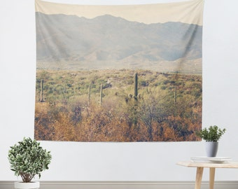 Desert Tapestry - Wall Hanging - Southwest Tapestry - Cactus Tapestry - Arizona Landscape - Landscape Photo - Wall Tapestry - Green and Tan
