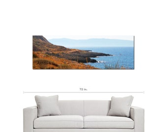 Greek Isle Canvas - Crete Canvas - Bokeh - Scenic - Nautical - Island View - Wall Art - Panoramic - Fine Art - Large Canvas - 20 x 60 Canvas