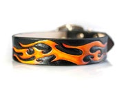 Custom Hand Tooled Leather Dog Collar on Etsy - 1 inch Black Dog Collar with Flames