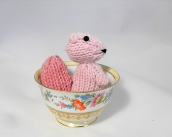 Hand Knit Squirrel. Light Pink Squirrel. Squirrel Stuffie. Woodland Plushie. Pretend Play. Pocket Pal. Ready To Ship. Gifts Under 10