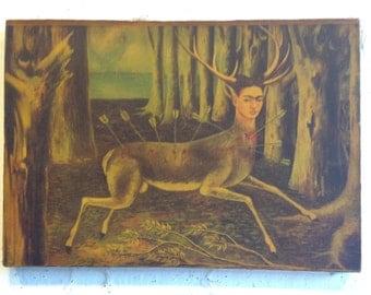mounted on stretchers vintage print Frida Kahlo Little Deer in reverse