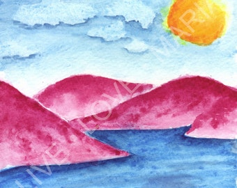 Pink Mountains Watercolor - 5 x 5  original paining