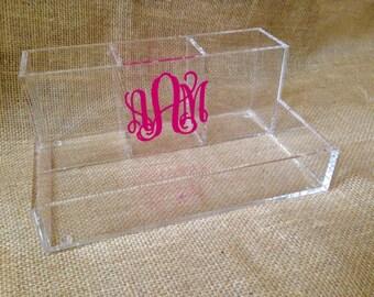 Monogram Make up Oragnizer, Vanity Tray - Personalized Acrylic Caddy - Dormroom - Graduation Gift
