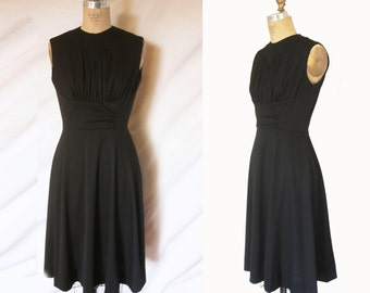 Black Sleeve-less Dress with Gathered Bust