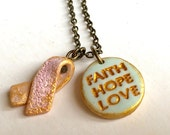 Faith Hope Love, Pink Ribbon, Dainty Necklace, Breast Cancer jewelry, Meaningful Gift for Friend, Get well, Find the Cure