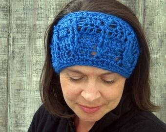 Cabled crochet headband, headwrap, ear warmer - royal blue - crochet accessories Winter Fashion handmade Salutations Crochet