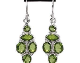 Peridot Earrings, Gemstone Earrings, Birthstone Earrings, Dangle Earrings, Green Earrings, Natural Peridot, Sterling Silver, Peridot Jewelry