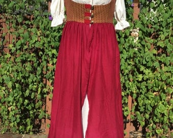 Red & Gold Renaissance Dress With Underdress, size 14-16