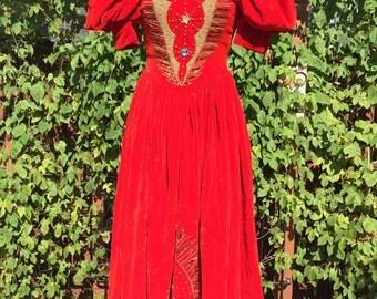 Red Queen Inspired Velvet Dress, Girls size 14-16