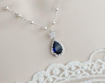Blue Sapphire Starfish Necklace, Bridal Necklace, CZ Blue Sapphire and Swarovski Pearls Necklace ,Bridesmaid Necklace, Beach Wedding Jewelry