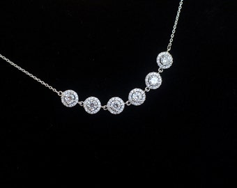 Bridal Necklace, Cubic Zirconia Bridal Necklace ,Bridal Jewelry, Wedding Jewelry, Cubic Zirconia Bridal Jewelry, CZ Bridesmaids Necklace