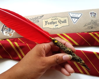Gryffindor Tie & Quill - Deluxe Ballpoint Feather Writing Pen