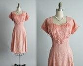 50's Lace Dress & Jacket  // Vintage 1950's Pale Pink Lace  Full Cocktail Party Dress Jacket Set L