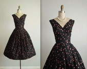 50's Floral Dress // Vintage 1950's Pink Floral Print Cotton Shelf Bust Classic Casual Summer Day Dress XS
