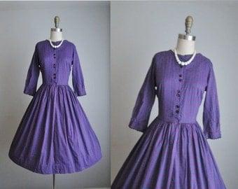 STOREWIDE SALE 50's Shirtwaist Dress // Vintage 1950's Purple Print Cotton Shirtwaist Day Dress S