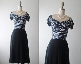 STOREWIDE SALE 40's Dress // Vintage 1940's Black Blue Abstract Print Rayon Dress XS