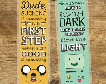 Adventure Time Inspirational Quote Laminated Bookmark Jake + BMO