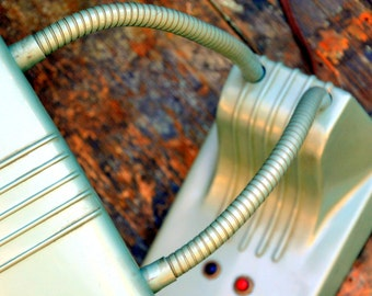 Vintage Aqua DAZOR Double Gooseneck Desk Lamp, Original Metallic Finish: Industrial Tanker Mid Century Metal Office Light Fixture