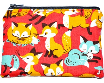 Fox Coin Purse Zipper Pouch Wallet Card Holder Zippered Pouch Gift Idea