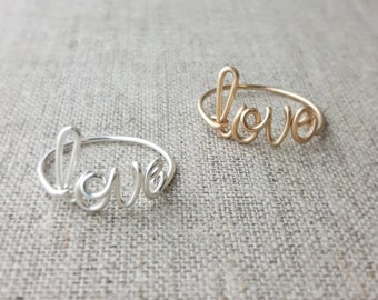 Girlfriend Ring, Love Ring, Sterling Silver or 14K Gold Filled Any Size, Wire Wrap, Bridesmaid Gift, Bride Gift, Girlfriend Gift, Word Ring
