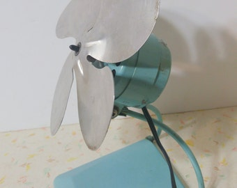 Vintage Torcan Table Fan Industrial Aqua