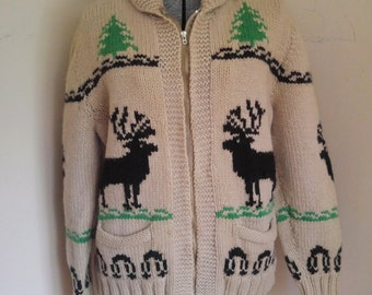 Vintage 1970's Cowichan Sweater With Deer or Elk Camping Outdoorsy Sweater