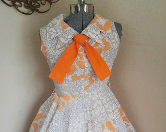 Vintage Floral Full Skirt A Line Kay Windsor Dress 70's