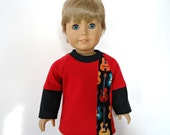 18 inch boy doll shirt layered look red black electric guitar acoustic guitars long sleeves