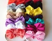 Set of 10 Bows Large Bow Headband - Big Baby Bow Headband - Big Bow Newborn Headband - Messy Bow Headband - Soft Nylon Band - Thin Soft Band