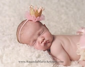 Gold and Pink Felt Newborn Crown - Small Gold Glitter Crown - Mini Baby Crown - Gold Crown with Tulle - Felt Crown - Tiny Crown - Birthday