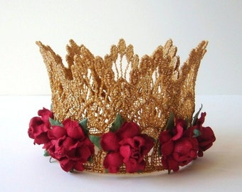 Gold Crown Cake Topper - Baby Shower Cake Topper - Bridal Shower Cake Topper - Red Flowers - Red - Gold - Christmas - Valentines Day