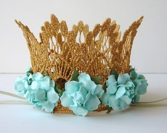 Small Aqua and Gold Lace Crown - Aqua Flowers - Newborn Gold Crown - Photo Prop - First Birthday Cake Smash - Baby Gold Crown